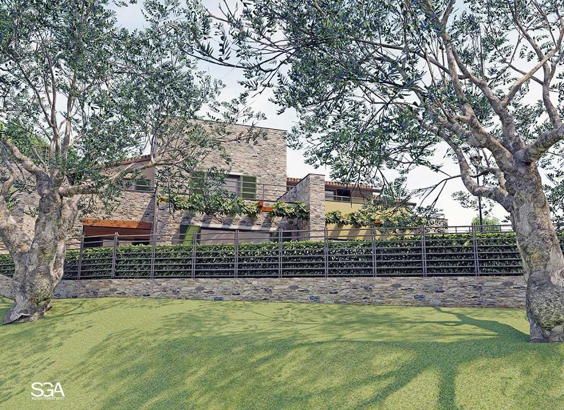 Giardino con ulivi Complesso residenziale Gorra SGA Srl